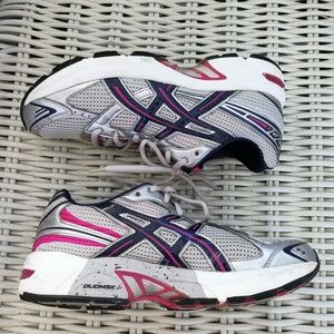7.5 ASICS TN863 running pink purple silver duomax Excellent